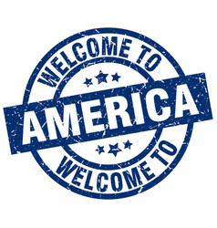 welcome to america blue stamp vector image