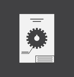White icon on black background gear scheme vector