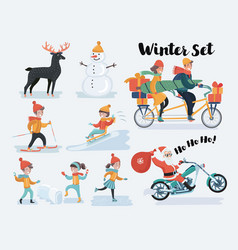 winter christmas people set vector image