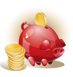 With piggy bank vector