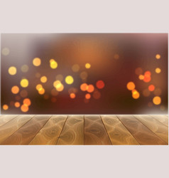 Wooden table on blurred bokeh lights vector