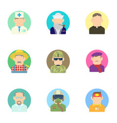 Workers icons set flat style vector