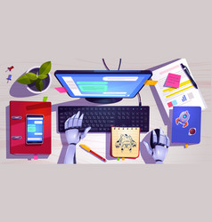 Workspace with robot hands on computer keyboard vector
