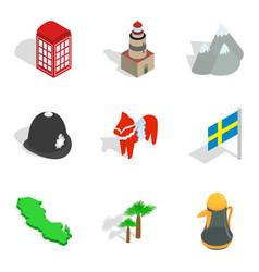 World order icons set isometric style vector