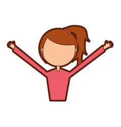 young woman with hands up avatar character vector image