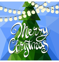 Christmas tree on blue vector image vector image