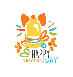 happy teachers day label back to school logo vector image