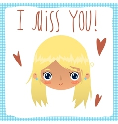 I miss you flat greeting card vector image vector image