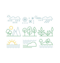 nature set trees plants sea and weather vector image