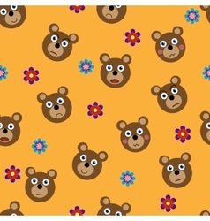 seamless pattern with funny bears vector image