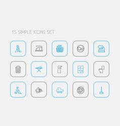 set of 15 editable hygiene outline icons includes vector image vector image
