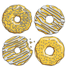 set of gold donuts with silver cream vector image vector image