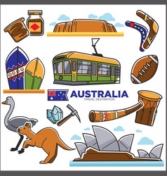 australian traditional symbols colorful set vector image vector image