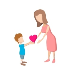 Boy giving a heart to her mother cartoon icon vector image