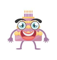 cartoon sweet cake birthday vector image