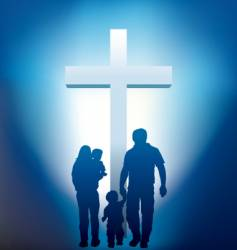 Christian family silhouette vector