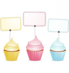cupcakes and labels vector image