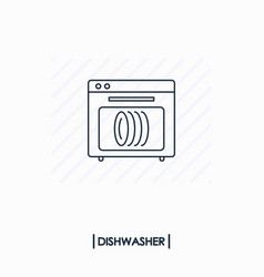 dishwasher outline icon isolated vector image vector image