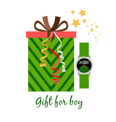 gift box for boy with watch vector image