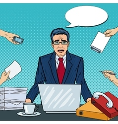 Pop Art Stressed Businessman with Laptop vector image vector image