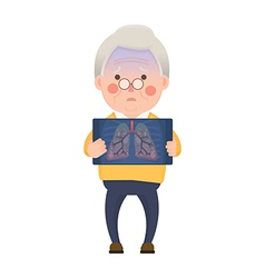 Senior man having lung problem vector