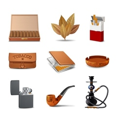 Tobacco Icon Set vector image