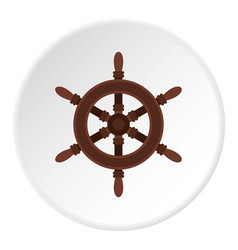 wooden ship wheel icon circle vector image vector image