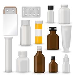 bottle pack template mockup blank pharmaceutical vector image