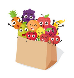 cartoon fruits characters with shopping bag vector image
