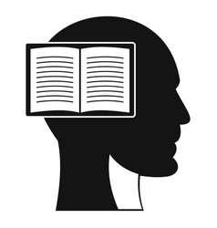 Head with open book icon simple style vector