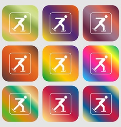 Ice skating sign icon Nine buttons with bright vector image vector image