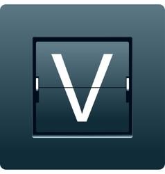 Letter v from mechanical scoreboard vector