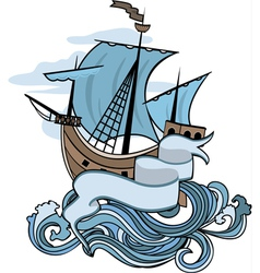 Marine emblem ship going over the waves vector image