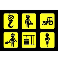 set yellow construction icon on flat design style vector image