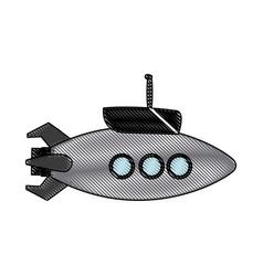submarine with periscope bathyscaphe cartoon vector image vector image