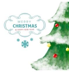 Christmas tree greeting card hand drawn and shiny vector image vector image