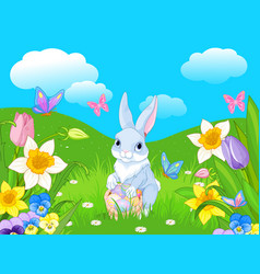 easter bunny with a basket full of easter eggs vector image vector image