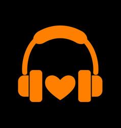 headphones with heart orange icon on black vector image vector image