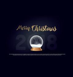 merry christmas snow globe ball new year chrismas vector image
