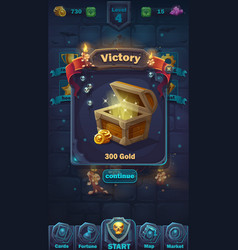 monster battle gui victory window vector image