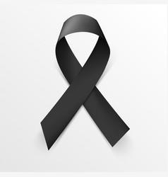 realistic black awareness ribbon on white vector image