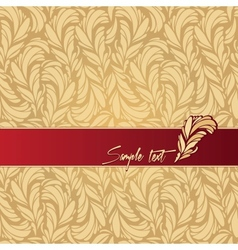 red background composition with feathers texture vector image vector image
