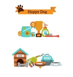set of color icons for dog pet food pet vector image