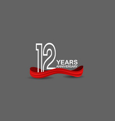 12 years anniversary line style white color vector