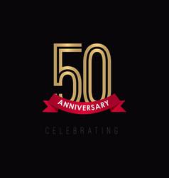 50 year anniversary luxury gold black logo vector