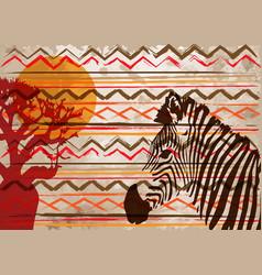 African print fabric ethnic savannah safari batik vector