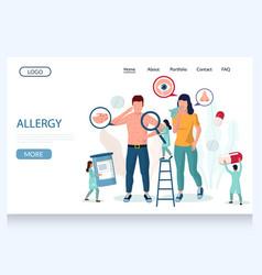 Allergy website landing page design vector