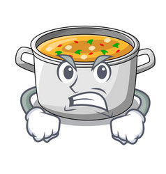 Angry cooking pot of soup isolated on mascot vector