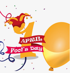 April fools day - number golden balloon hat vector