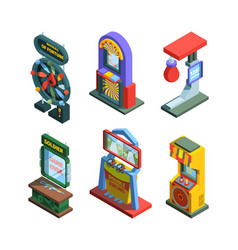 arcade game machine isometric trainers set gaming vector image